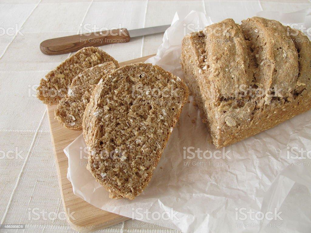 Slices of whole grain bread stock photo