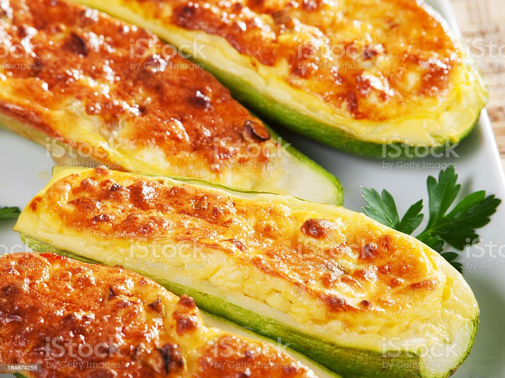 Slices of zucchini stuffed with cheese stock photo