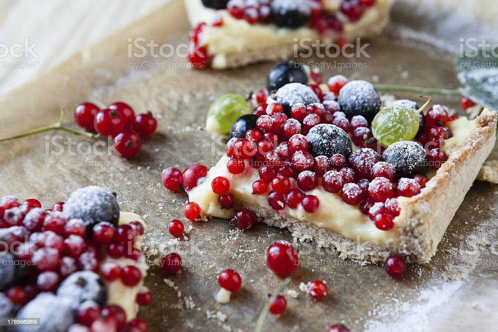 slices pie with summer berries stock photo