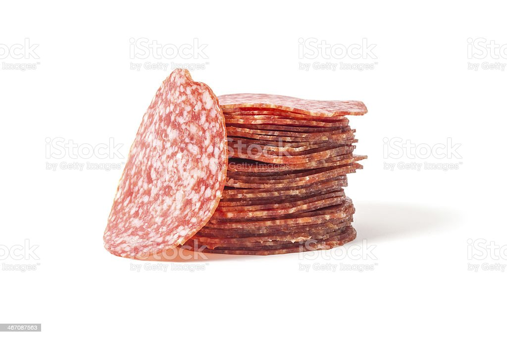 slices salami isolated on a white stock photo