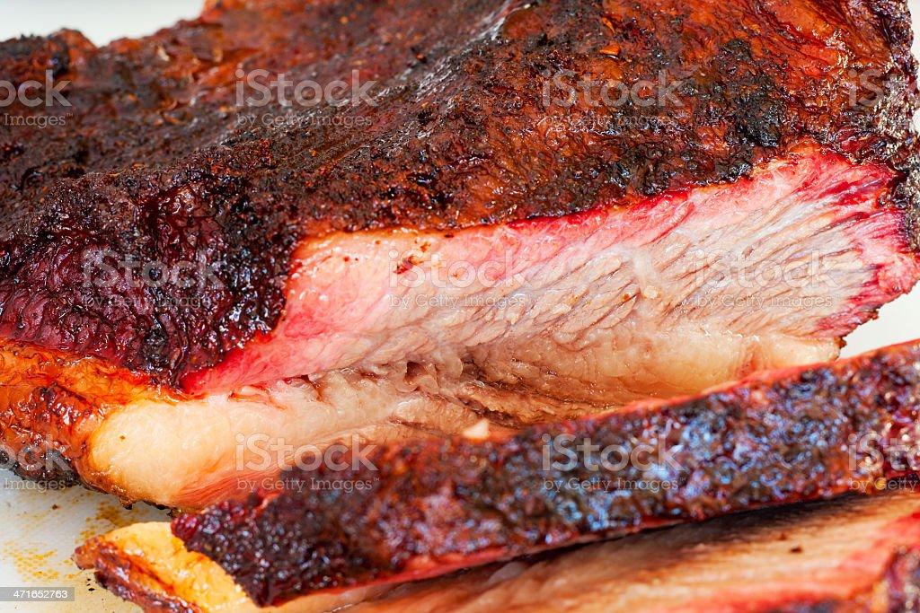 Slicing a Smoked Beef Brisket stock photo