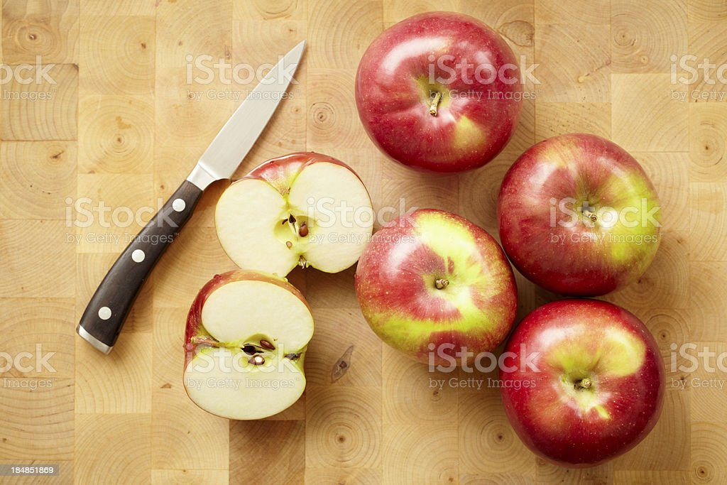 Slicing apples stock photo