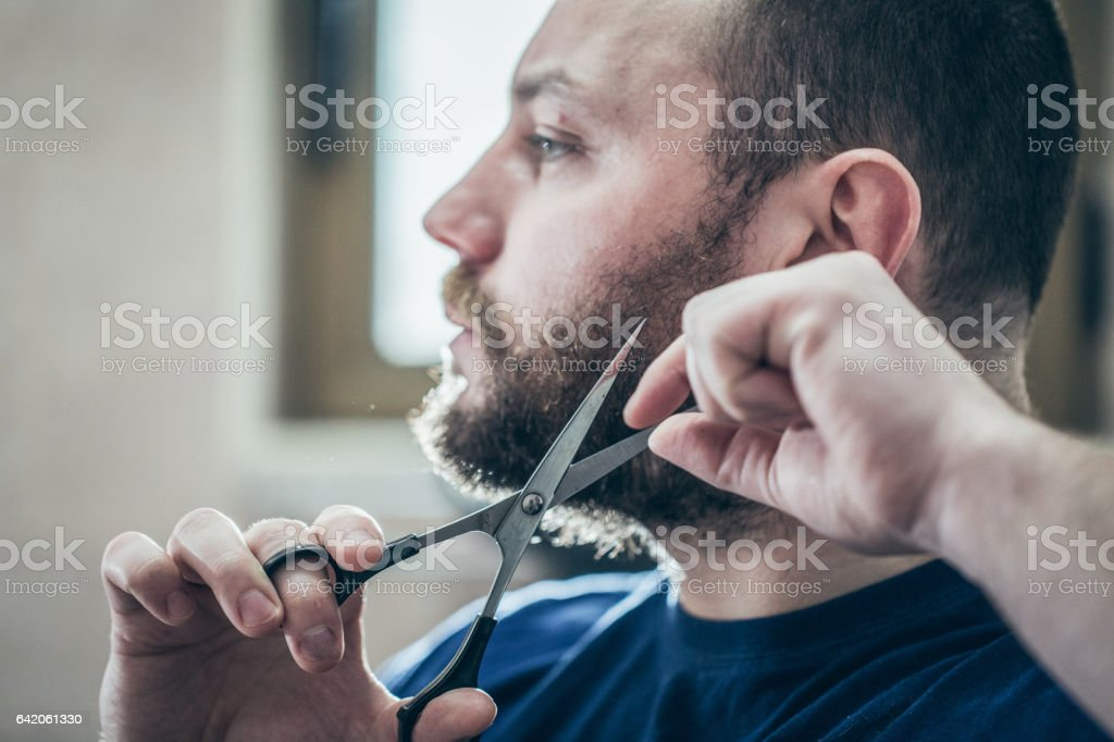 Slicing beard with scissors in the bathroom stock photo
