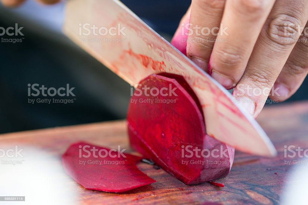 Slicing Beetroot stock photo