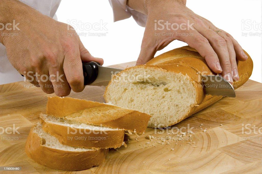 Slicing bread stock photo