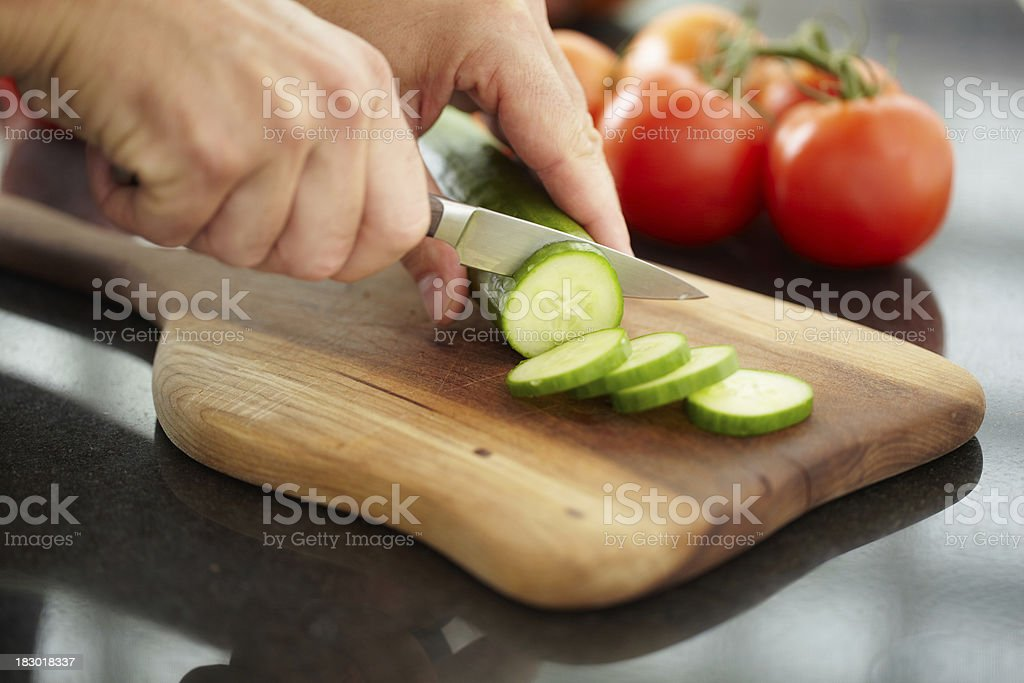 Slicing Cucumber stock photo