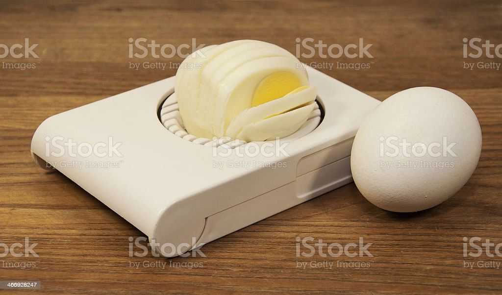 Slicing Eggs royalty-free stock photo