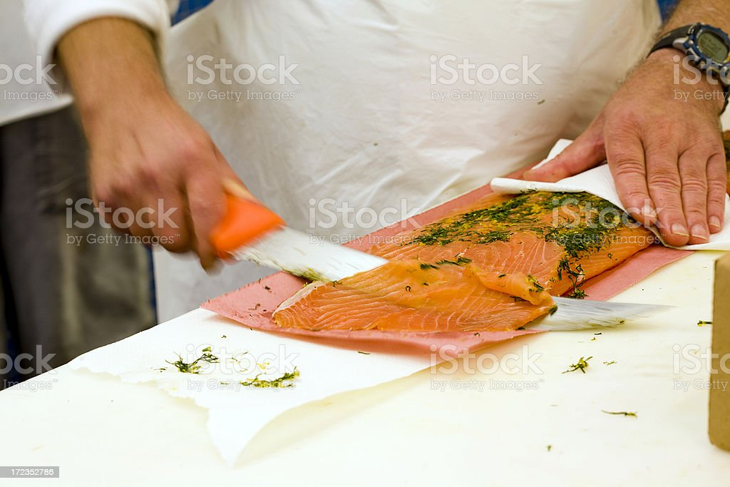 Slicing Lox stock photo