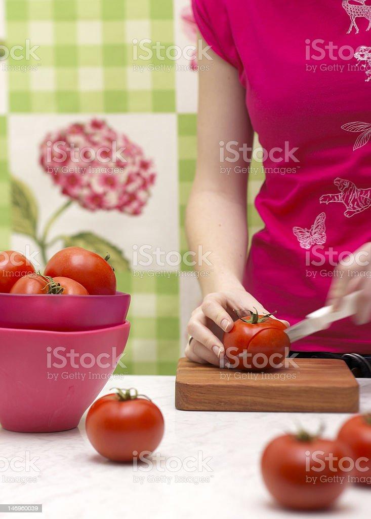 슬라이싱 tomatos royalty-free 스톡 사진