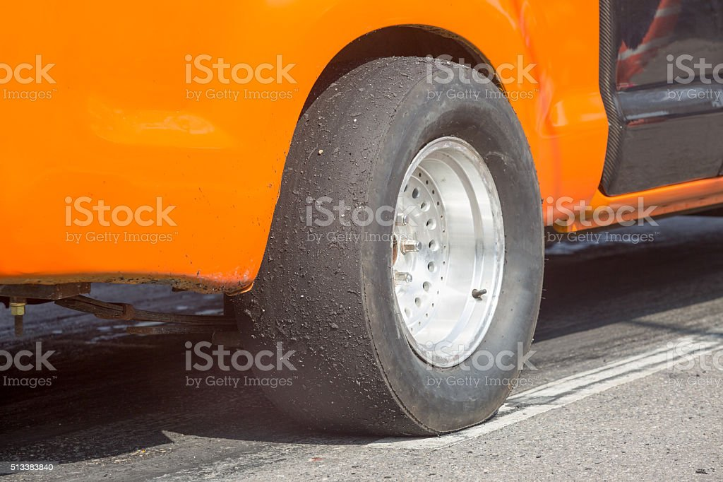 Slick tyre for drag racing car stock photo