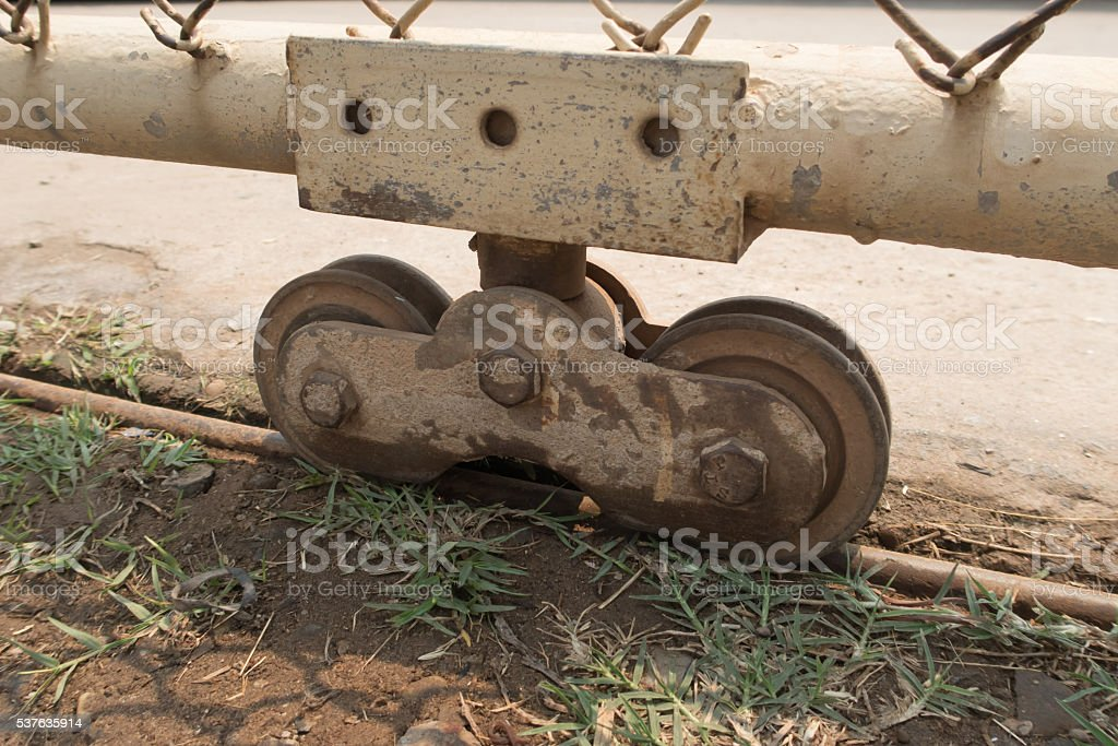 Slide door with wheel bearing. stock photo