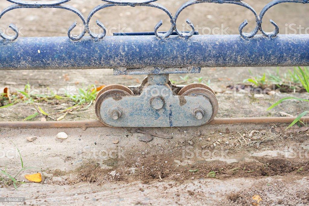 Slide door with wheel bearing stock photo