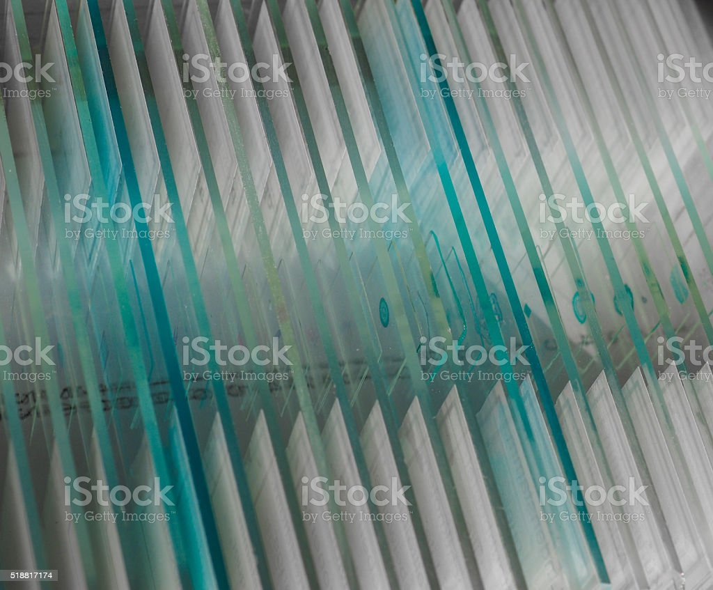 Slide for optical microscope stock photo