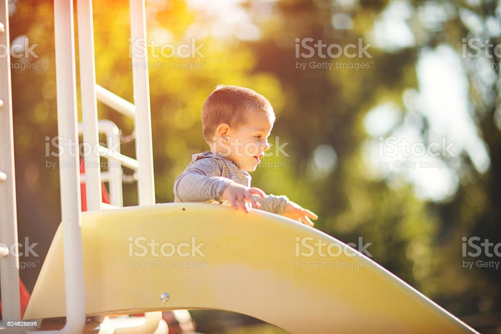 Slide is the best! stock photo