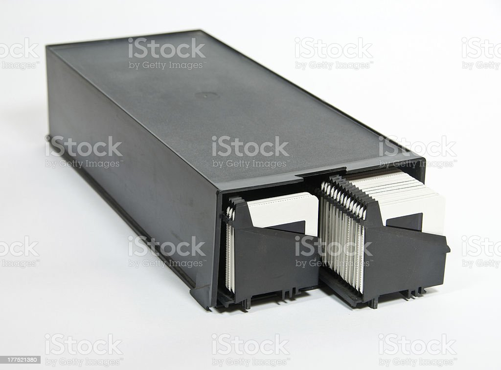 Slide magazines in a case royalty-free stock photo