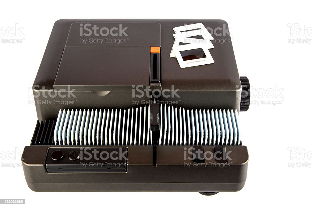 Slide Projector and Slides on White Background stock photo