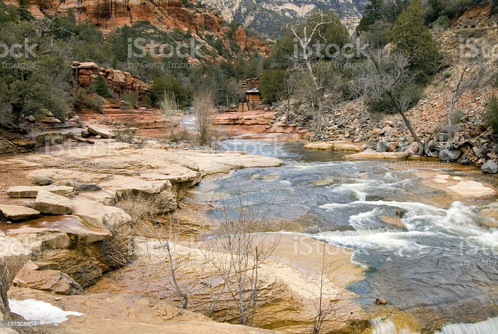 Slide Rock State Park in Winter stock photo