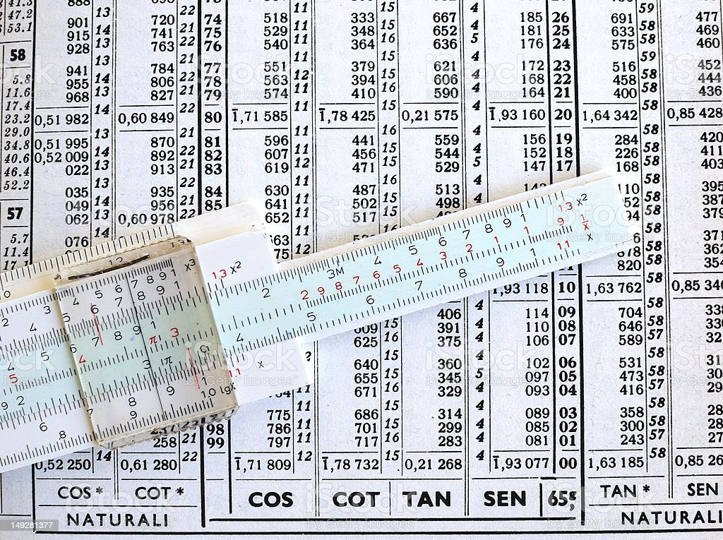 Slide rule of logarithmic tables royalty-free stock photo
