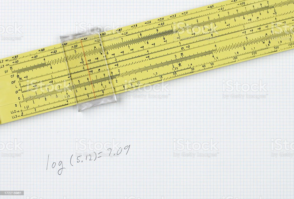 Slide Rule on Graph Paper with Equation royalty-free stock photo