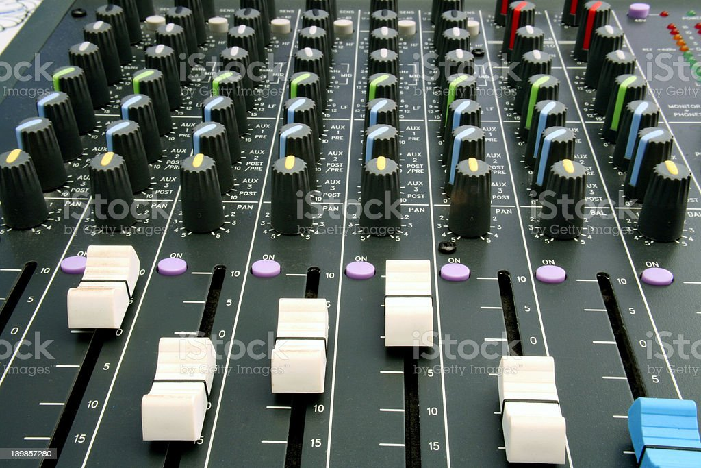 Sliders on Audio Mixer royalty-free stock photo