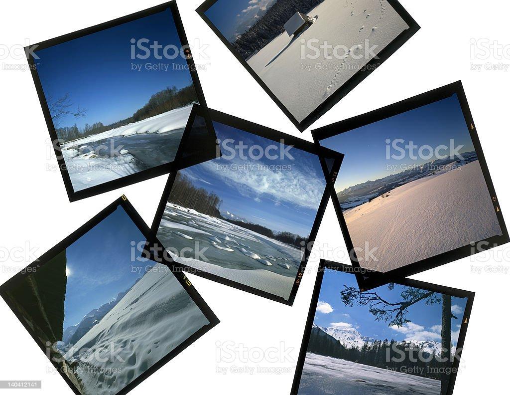 Slides 6x6 on lightbox - winter scenes stock photo