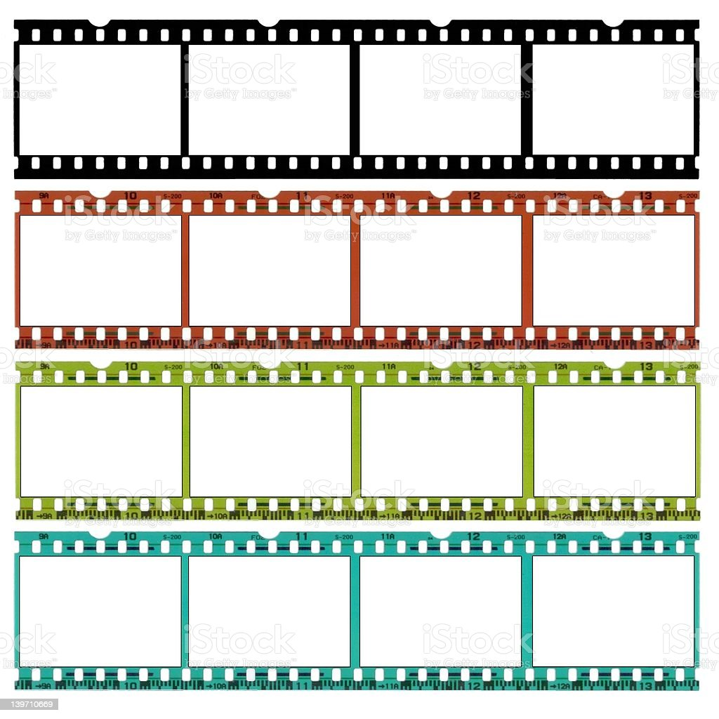 Slides of 35mm film in different colors royalty-free stock photo