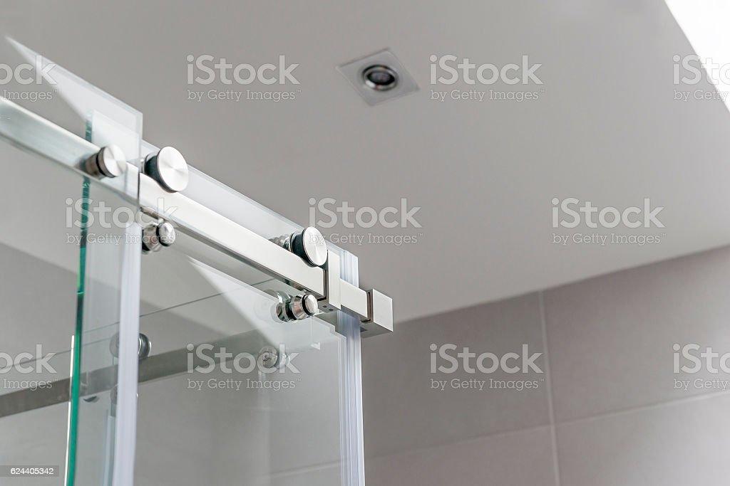 Sliding glass door mechanism stock photo