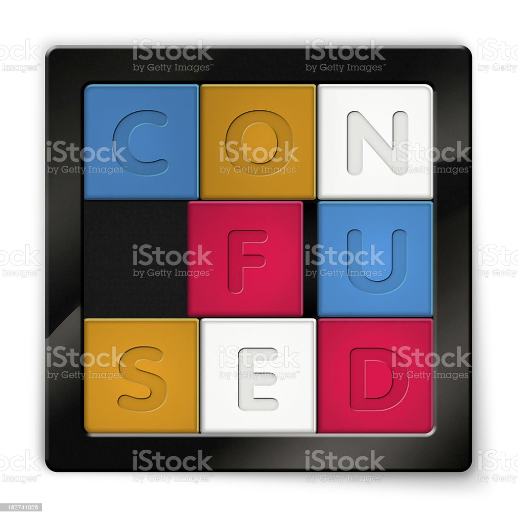 Sliding Puzzle with coloured squares saying Confused stock photo