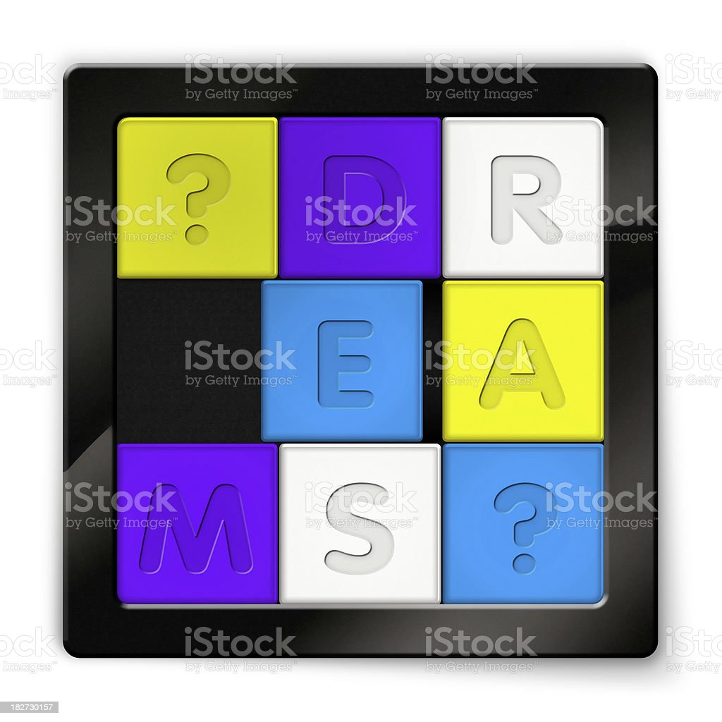 Sliding Puzzle with coloured squares saying Dreams stock photo