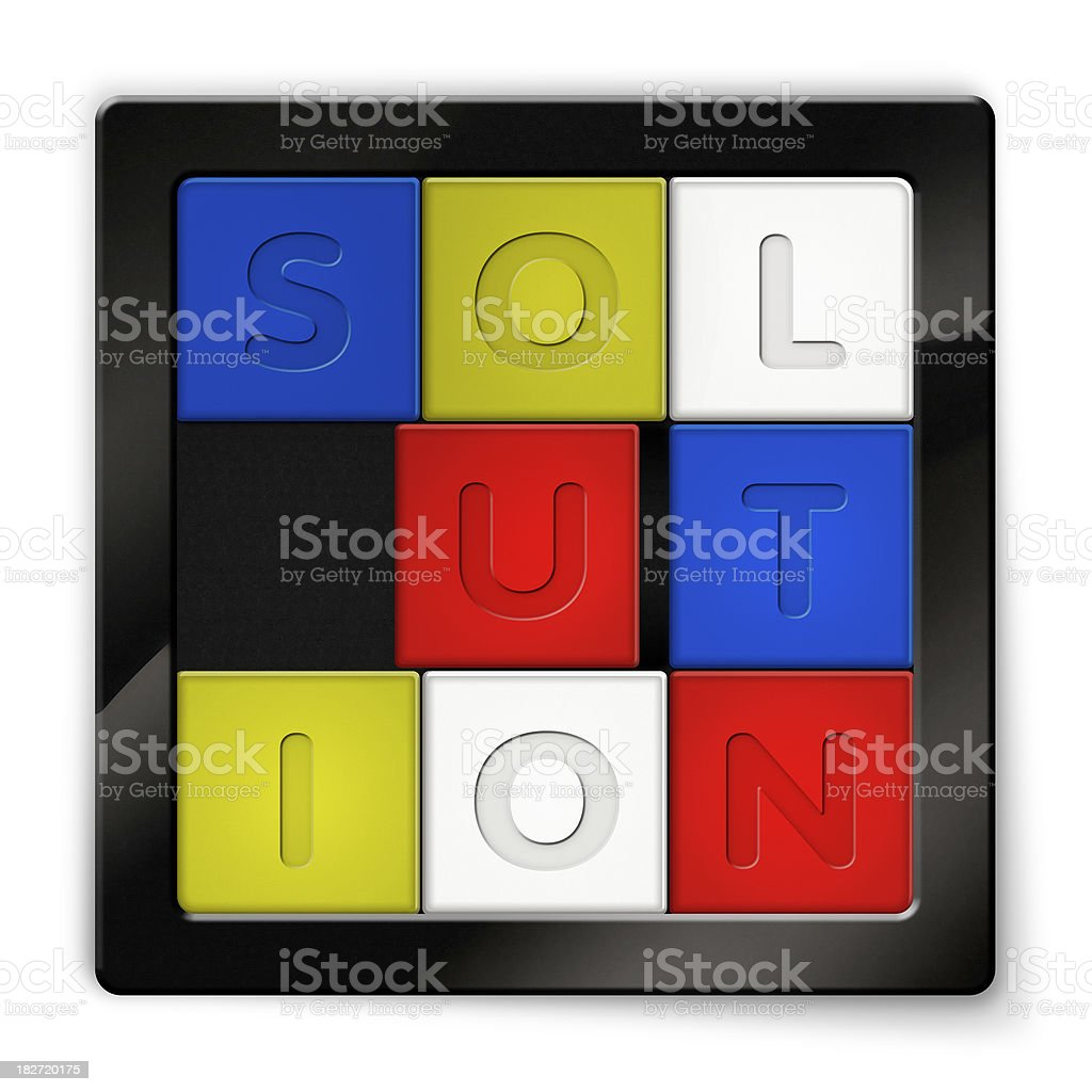 Sliding Puzzle with coloured squares saying Solution royalty-free stock photo