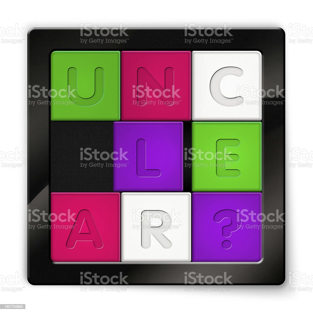 Sliding Puzzle with coloured squares saying Unclear stock photo