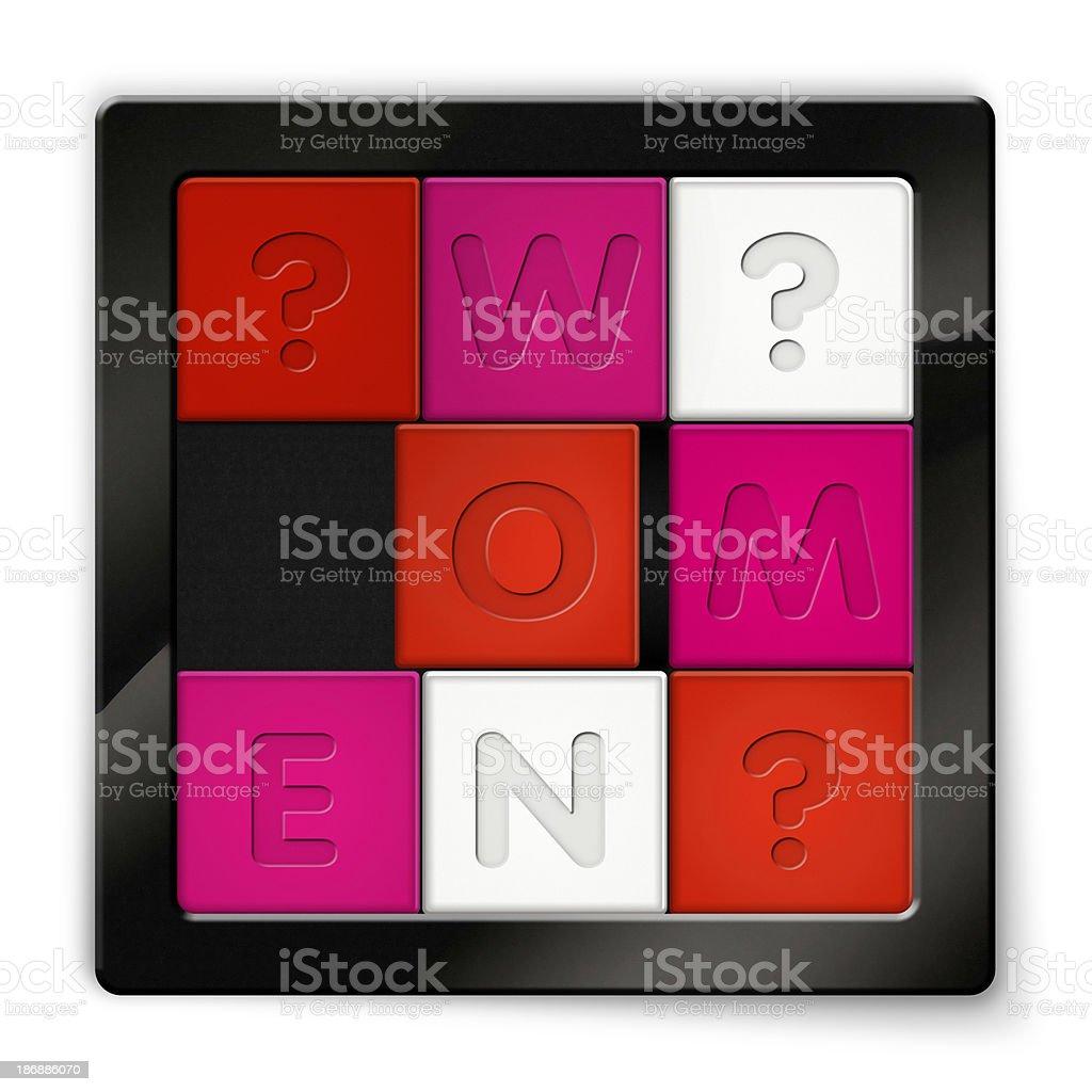 Sliding Puzzle with coloured squares saying Women stock photo