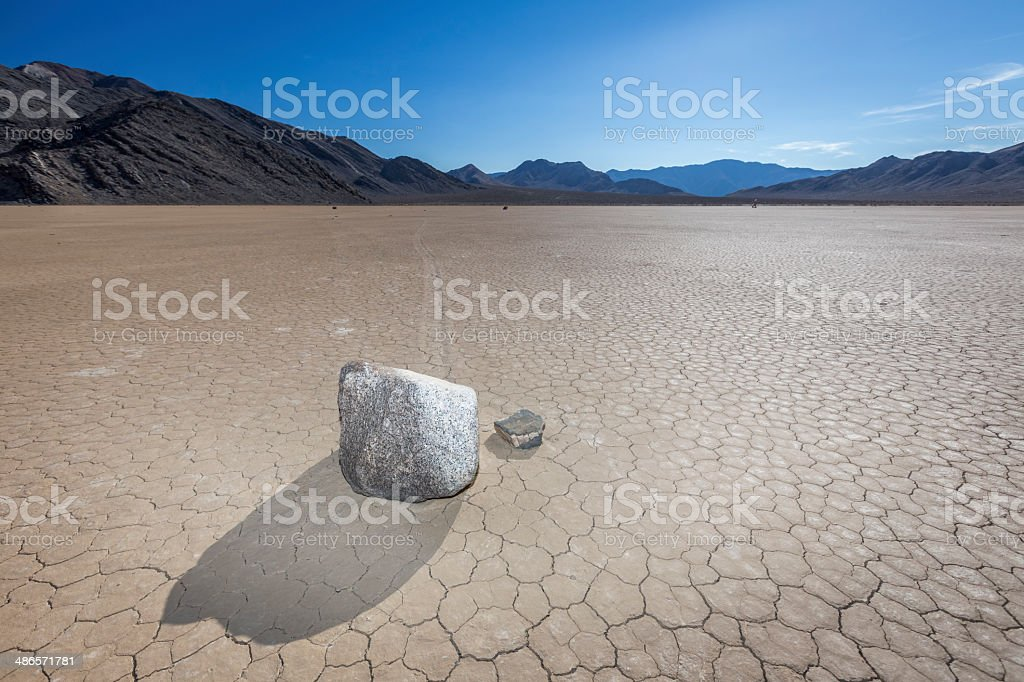 sliding rocks in Death Valley National Park stock photo