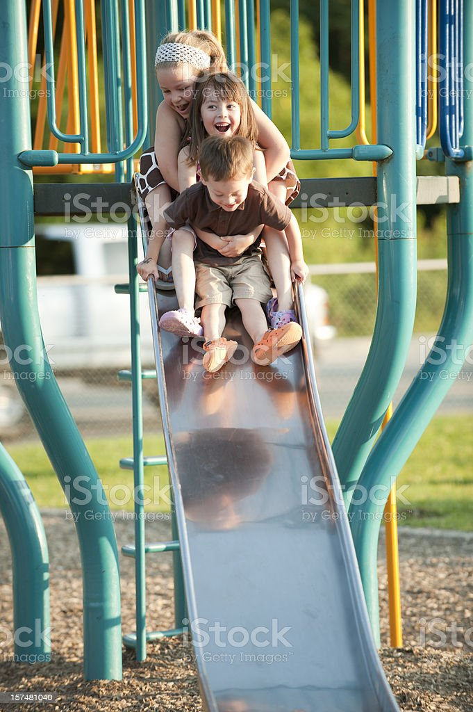Sliding Together royalty-free stock photo