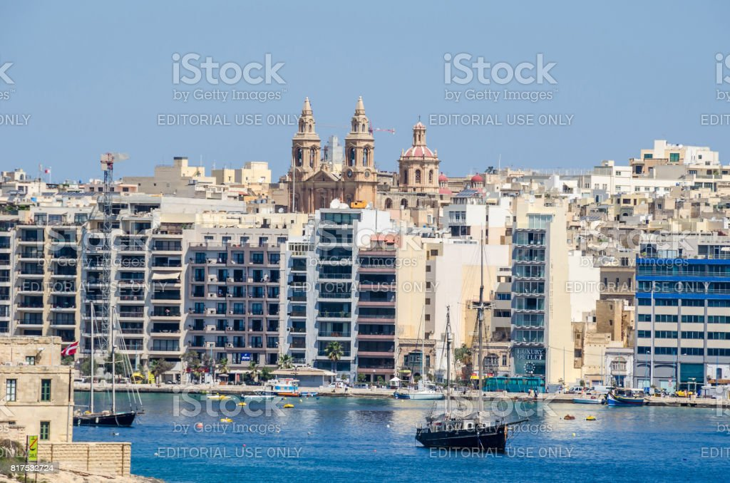 Sliema Waterfront with Sacro Cuor Parish Church stock photo