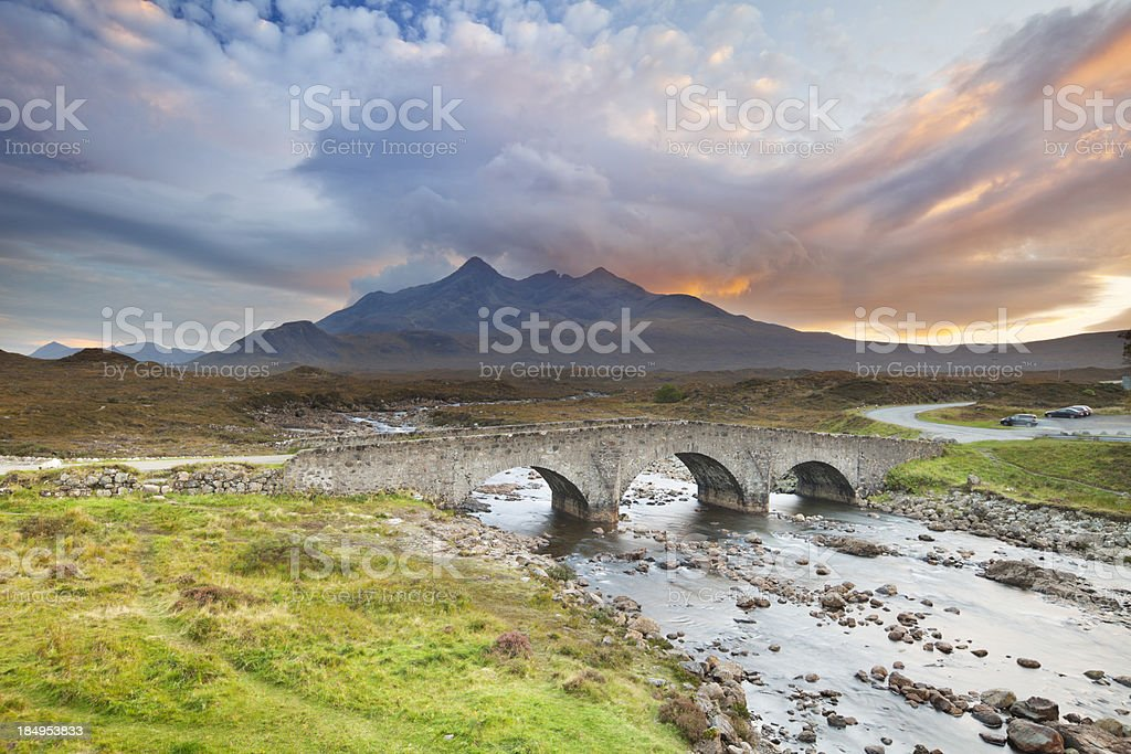 Sligachan Bridge and The Cuillins, Isle of Skye at sunset royalty-free stock photo