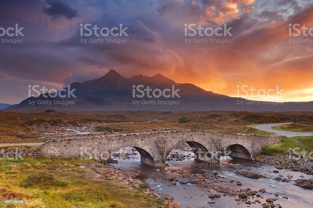 Sligachan Bridge and The Cuillins, Isle of Skye at sunset stock photo