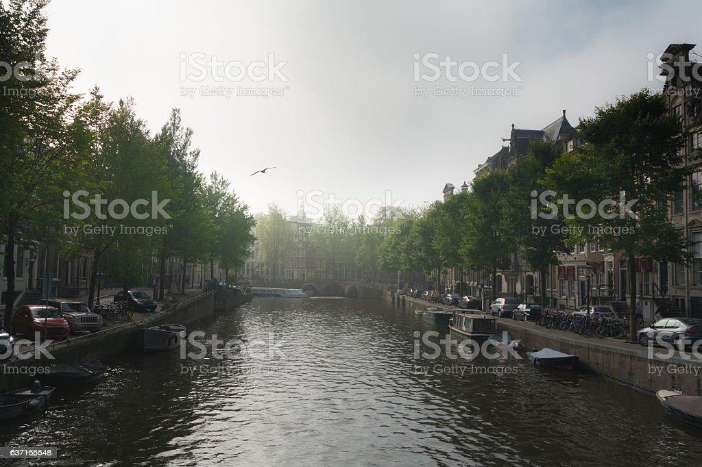 Slight morning fog on herengracht canal in Amsterdam stock photo