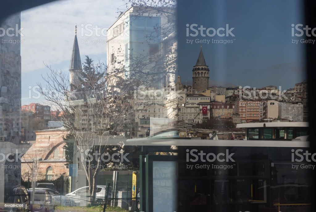 Slightly Distorted View from the window of urban transport stock photo