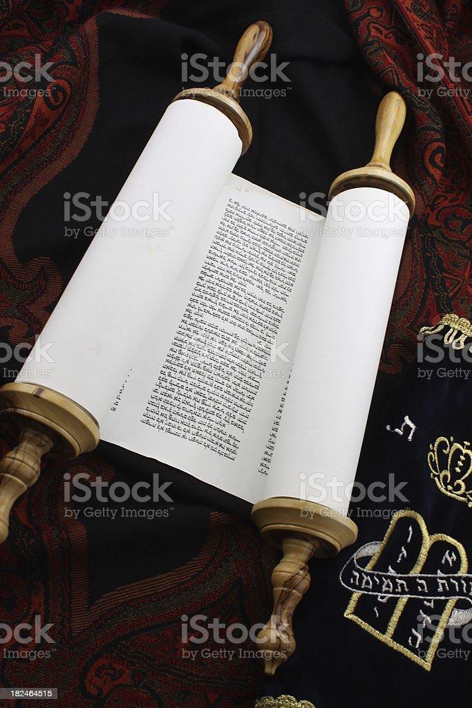 Slightly Unrolled Torah Scroll royalty-free stock photo