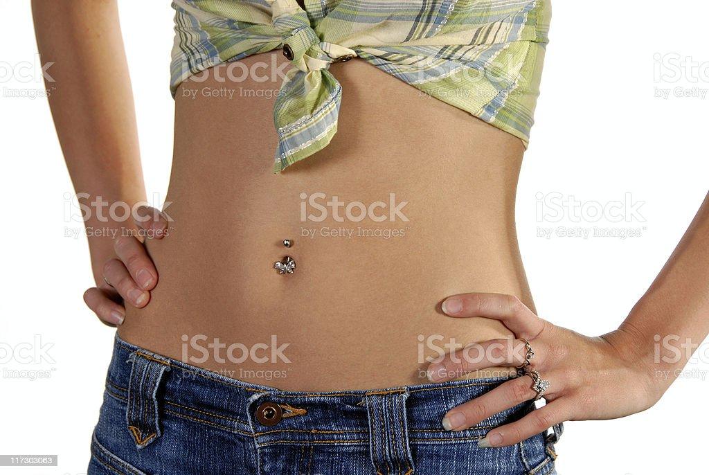 Slim active stomach of model stock photo