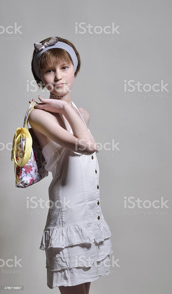 Slim adolescent model stock photo