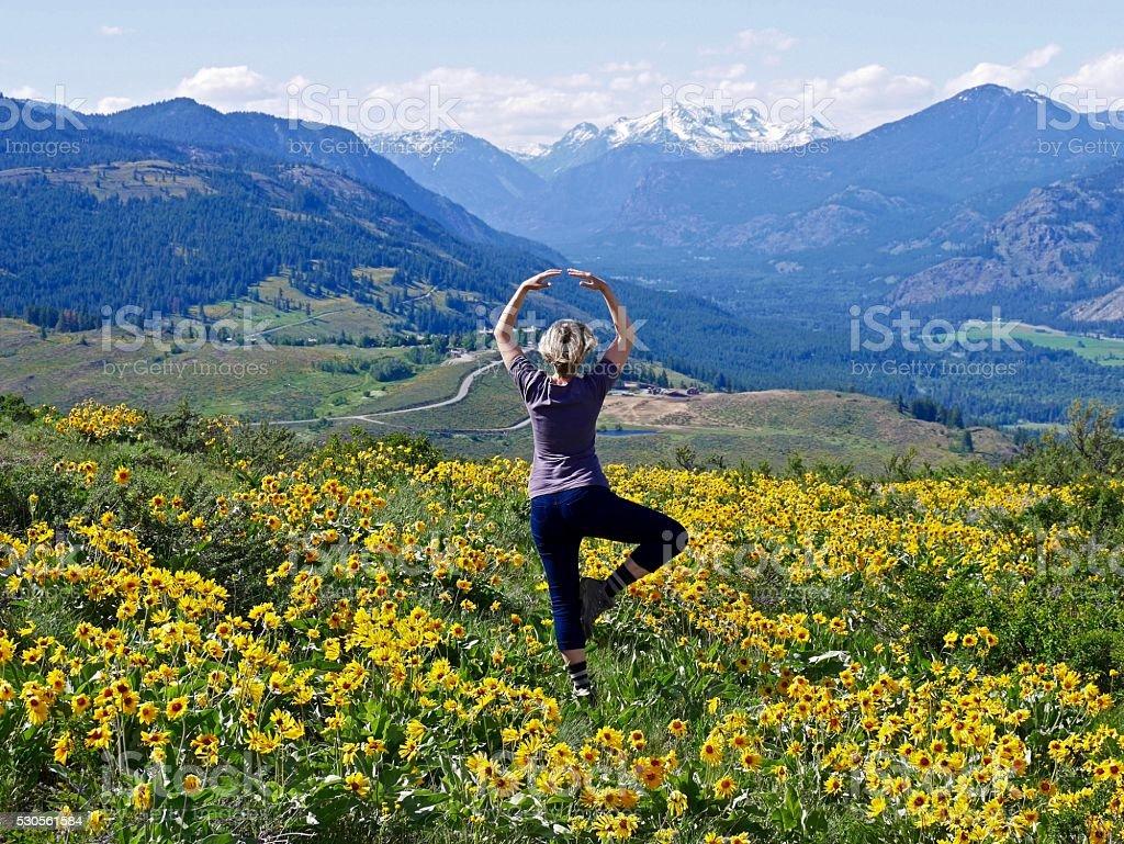 Slim Blond Woman in Yoga Pose Meditating. stock photo