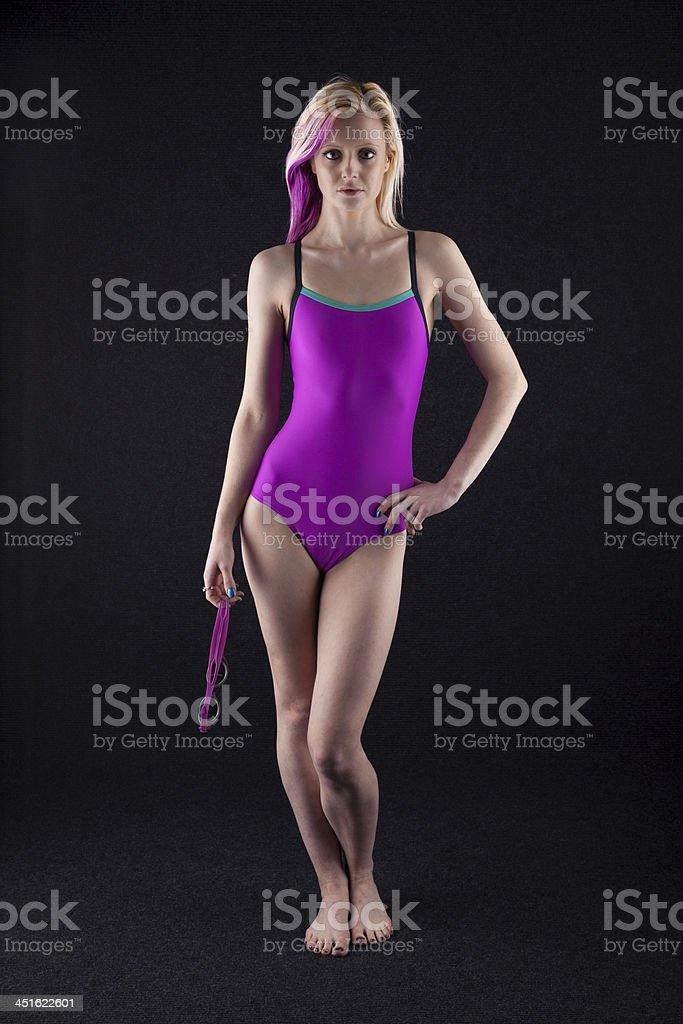 Slim Blonde In Swimwear royalty-free stock photo