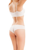 Slim body of woman isolated on white.