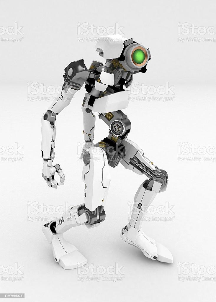 Slim Robot, Stooped royalty-free stock photo