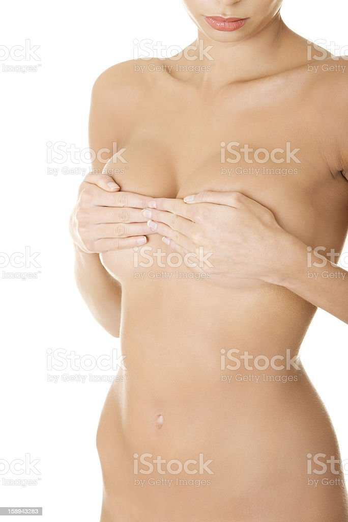 Slim tanned woman's body. royalty-free stock photo