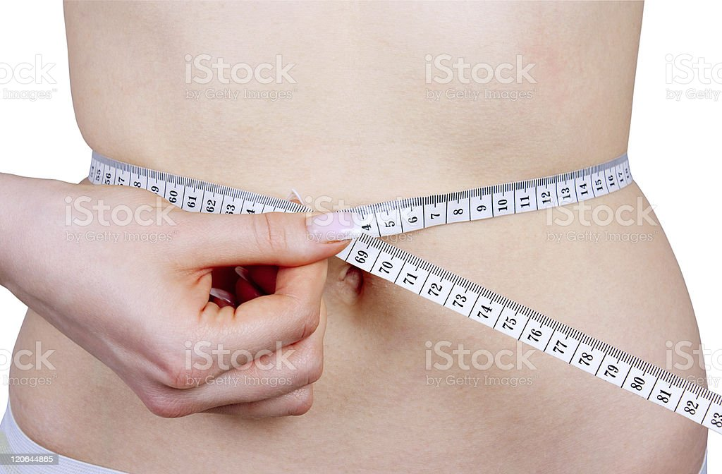 Slim waist with a tape measure around it royalty-free stock photo