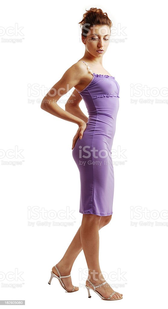 Slim woman in a close dress isolated on white stock photo