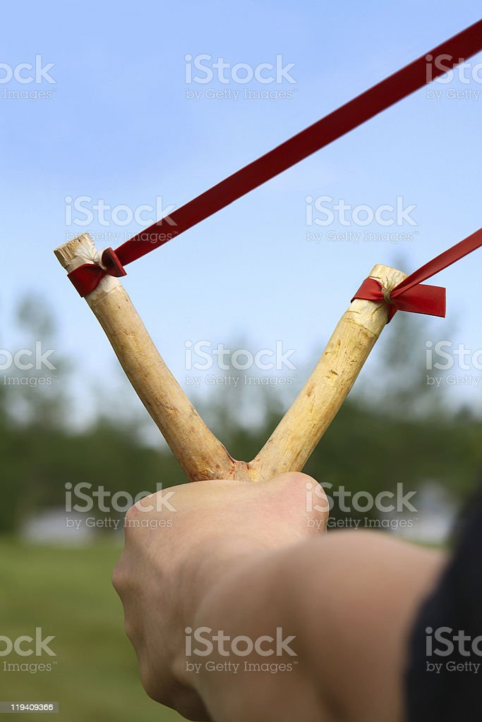 Slingshot aimed and ready royalty-free stock photo